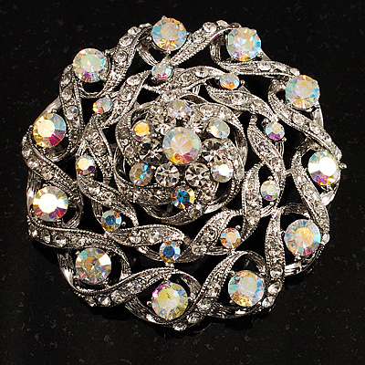 Dome Shaped AB Crystal Corsage Brooch (Silver Tone)