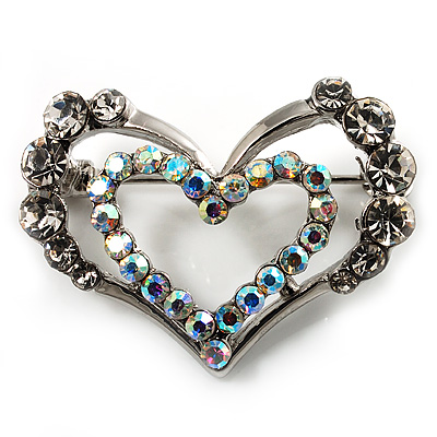 Tiny Open Crystal 'Heart in Heart' Brooch (Silver Tone) - main view