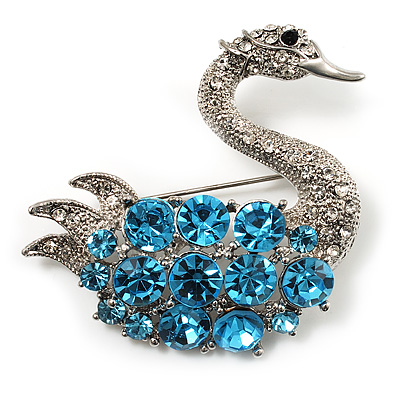 Rhodium Plated Diamante Swan Brooch (Sea Blue & Clear) - main view