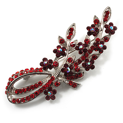 Romantic Swarovski Crystal Floral Brooch (Silver&Red)