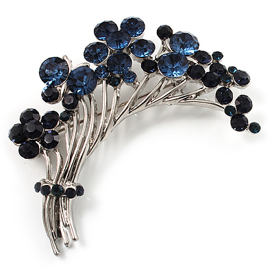 Flower And Butterfly Cluster Crystal Brooch (Navy Blue)