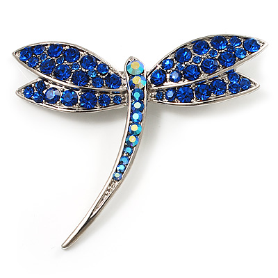 Classic Navy Blue Swarovski Crystal Dragonfly Brooch (Silver Tone)