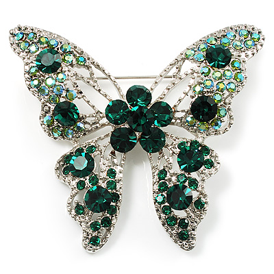 Dazzling Emerald Green Swarovski Crystal Butterfly Brooch (Silver Tone)