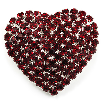 Burgundy Red Diamante Heart Brooch (Silver Tone)