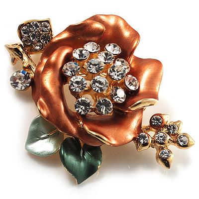 Gold Bronze Enamel Crystal Flower Brooch (Gold Tone) - main view