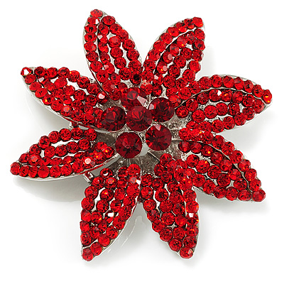 Hot Red Swarovski Crystal Bridal Corsage Brooch (Silver Tone)