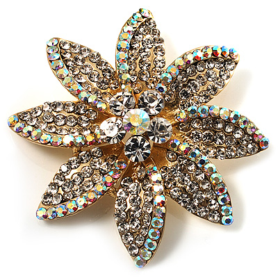 Clear Swarovski Crystal Bridal Corsage Brooch (Gold Tone)