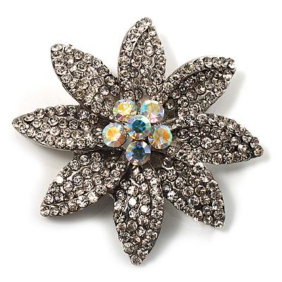 Clear Swarovski Crystal Bridal Corsage Brooch (Silver Tone)