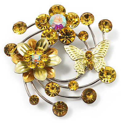 Fancy Butterfly And Flower Brooch (Lemon Yellow & Silver Tone)