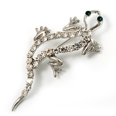 Silver Tone Crystal Lizard With Geen Eyes Brooch