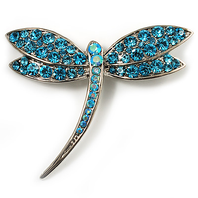 Classic Azure Swarovski Crystal Dragonfly Brooch (Silver Tone)