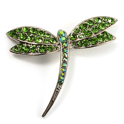 Classic Grass Green Swarovski Crystal Dragonfly Brooch (Silver Tone)