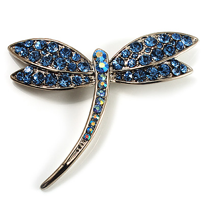 Classic Light Blue Swarovski Crystal Dragonfly Brooch (Silver Tone)