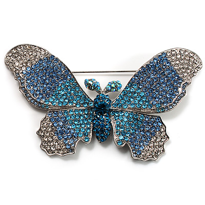 Gigantic Pave Swarovski Crystal Butterfly Brooch (Clear&Blue) - main view
