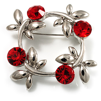 Small Butterfly Crystal Wreath Brooch (Silver &amp; Red)
