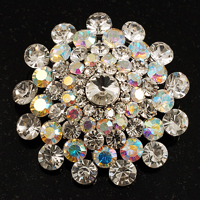 Dazzling Dom Shape Crystal Corsage Brooch (Silver, Clear & Iridescent) - 4cm Diameter