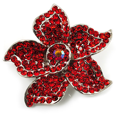 Small Hot Red Diamante Flower Brooch (Silver Tone) - main view