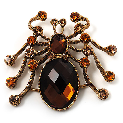 Antique Gold Amber Coloured Crystal Spider Brooch