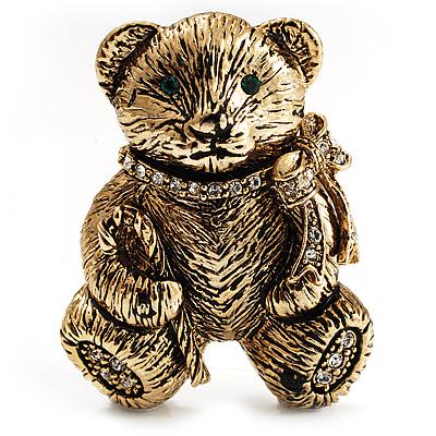 Vintage Crystal Teddy Bear Brooch (Antique Gold Tone)