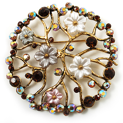 Vintage Wreath Floral Brooch (Antique Gold)