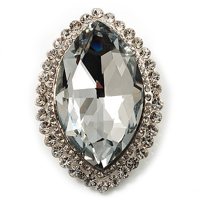 Statement Oval Shaped Clear Crystal Fashion Brooch (Silver Tone)