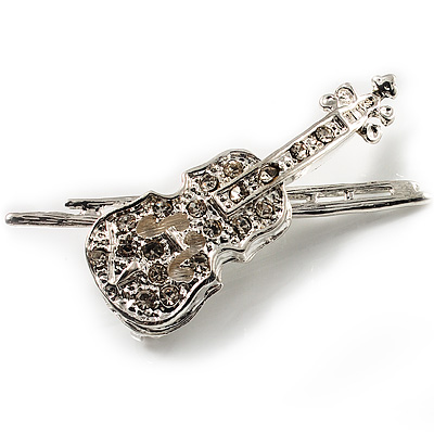 Silver Tone Clear Crystal Violin Costume Brooch