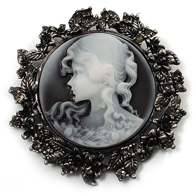 Vintage Round Crystal Cameo Brooch & Pendant (Black Tone) - main view