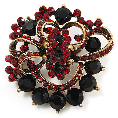 Burgundy Red & Jet-Black Diamante Corsage Brooch (Antique Gold Tone)