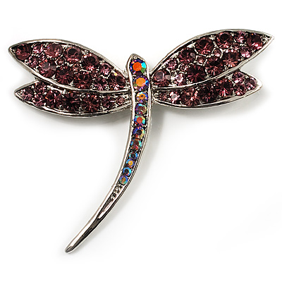 Classic Light Lilac Crystal Dragonfly Brooch (Silver Tone)