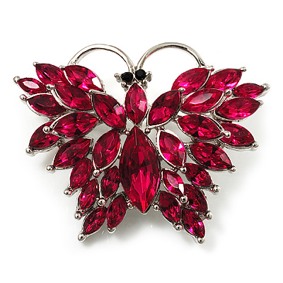 Bright Magenta Diamante Butterfly Brooch (Silver Tone)