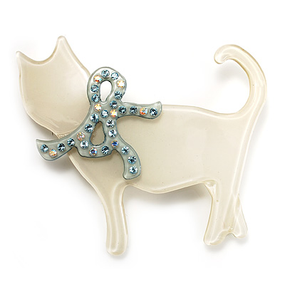 Cat With Crystal Bow Plastic Brooch (Cream &amp; Pale Geen)