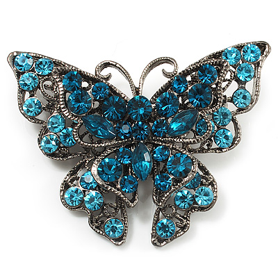 Azure Blue Crystal Filigree Butterfly Brooch (Silver Tone) - main view