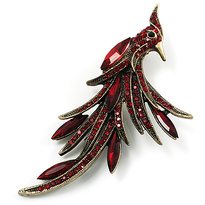 Burgundy Red Exotic Crystal Fire-Bird Brooch (Bronze Tone)