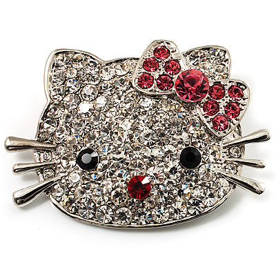 Cute Dazzling Kitten With Pink Bow Brooch (Silver Tone) - main view
