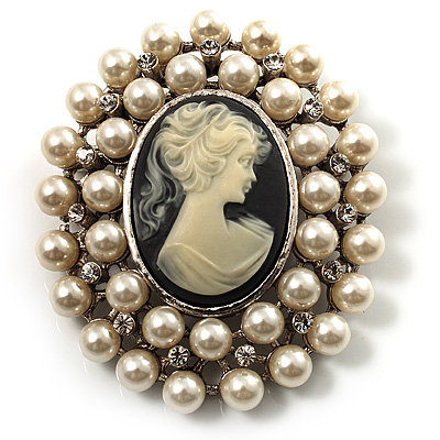 Simulated Pearl Crystal Cameo Brooch (Silver Tone) - main view
