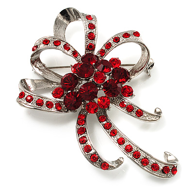 Hot Red Crystal Bow Corsage Brooch (Silver Tone)