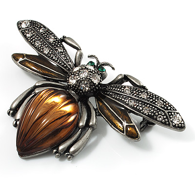Vintage Diamante  Bee Brooch (Antique Silver Tone) - main view