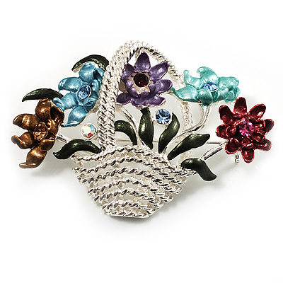 Fancy Enamel Multicoloured Flower Basket Brooch (Silver Tone) - main view