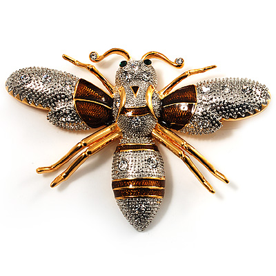 Oversized Gold Diamante Bee Brooch
