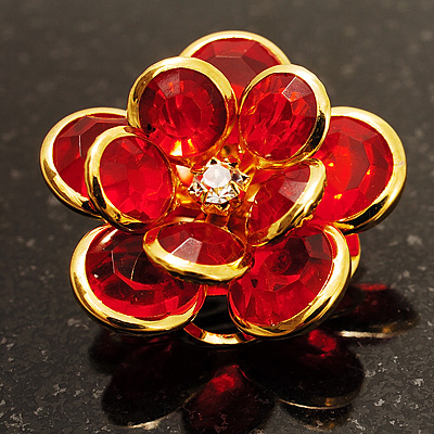 Small Pale Red Acrylic Floral Brooch (Gold Tone)