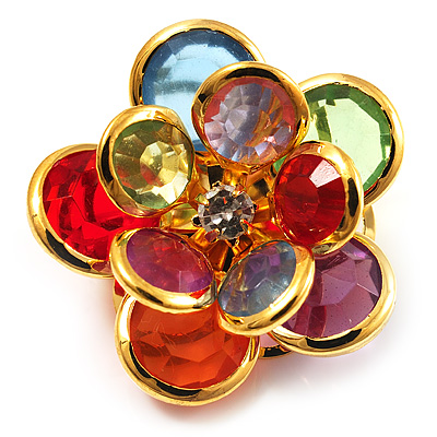 Small Multicoloured  Acrylic Floral Brooch (Gold Tone)