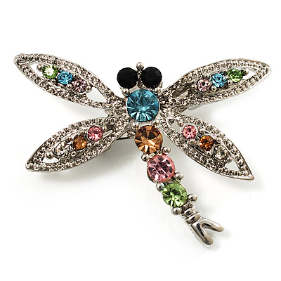 Small Swarovski Crystal Dragonfly Brooch (Silver Tone)