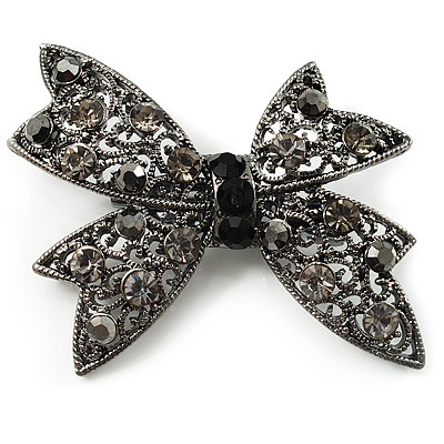 Gun Metal Filigree Crystal Bow Brooch - main view