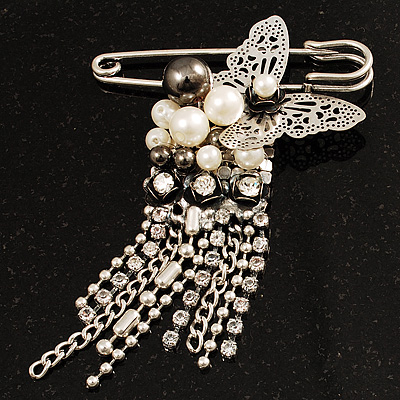 Stylish Butterfly, Crystal & Pearl Charm Pin Brooch (Silver Tone)