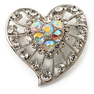 Silver Plated Crystal Filigree Heart Brooch