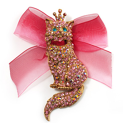 Swarovski Crystal Magnificent Queen Cat Brooch/ Pendant (Gold &amp; Iridescent Pink)