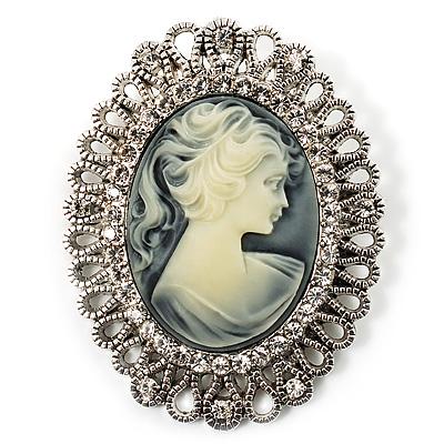Vintage Antique Silver Crystal Cameo Brooch - main view