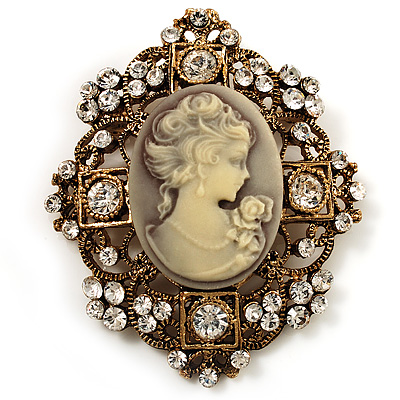 Heiress Filigree &#039;Cameo&#039; Brooch (Antique Gold Finish)