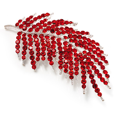Statement Crystal Leaf Brooch (Bright Red) - main view