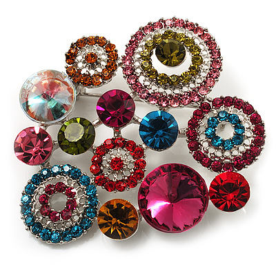 Multicoloured Diamante Cluster Brooch (Silver Tone) - main view
